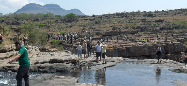 Group stopping at Bourkes Luck Potholes on the Panaromic Route, South Africa