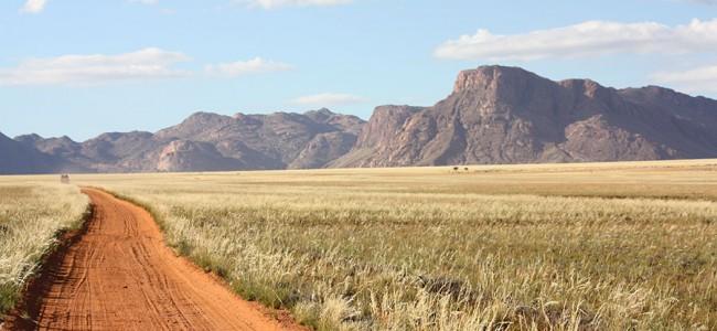 Driving through Namib Naukluft National Park in Namibia