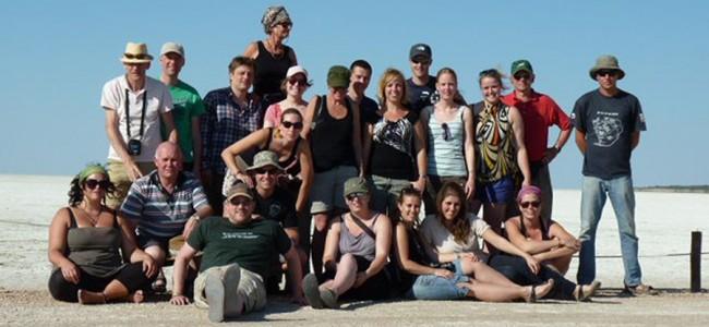 Group photo at the Etosha Salt Pan, in Etosha National Park, Namibia