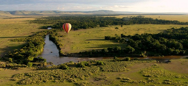 Hot air balloon safari over the Masia Mara Game Reserve, Kenya