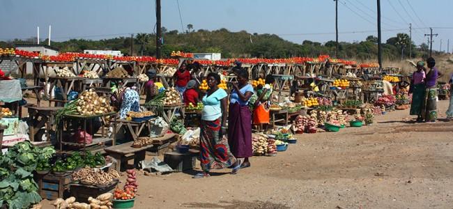 Market outside South Luanga National Park, Zambia