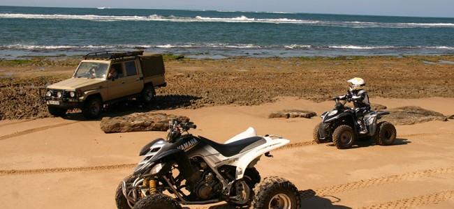 Quad biking on the sand dunes, Mozambique