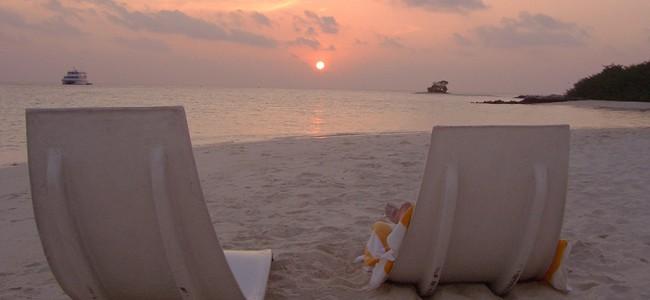 Romantic Sunset in the Maldives